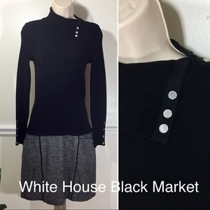 WHITE HOUSE BLACK MARKET DRESS GRAY LONG SLEEVE